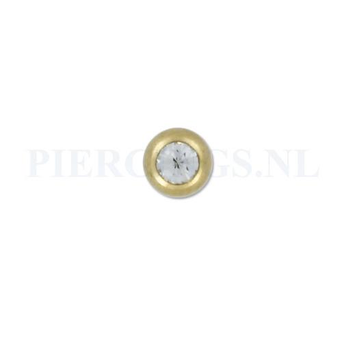 Balletje 1.2 mm 4 mm goud kleur kristal