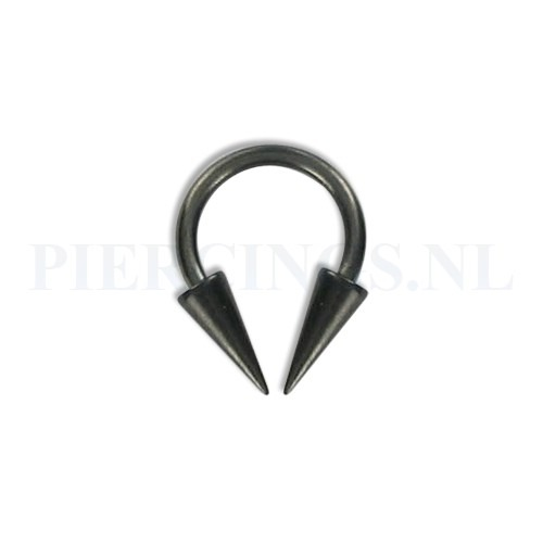 Circulair barbell zwart 1.2 mm long cones M | www.Sjopz.com |