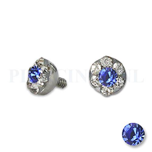 Dermal balletje 4 mm blauw met meerdere kristallen