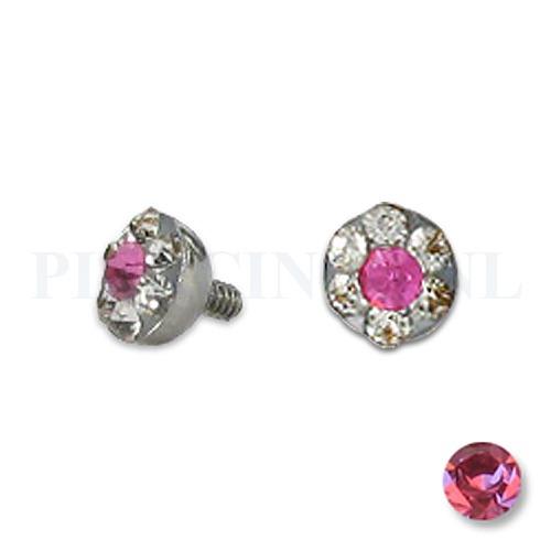Dermal balletje 4 mm roze met meerdere kristallen