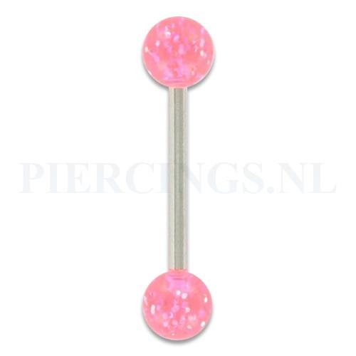 Tongpiercing acryl glitter roze