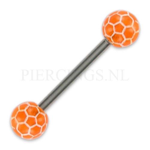 Tongpiercing acryl voetbal oranje | www.Sjopz.com |