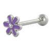 Tongpiercing bloem paars