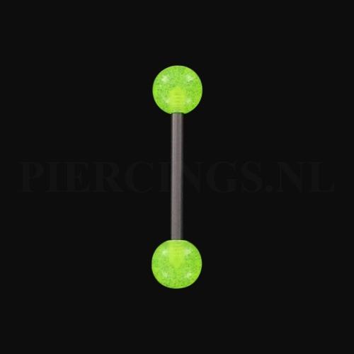 Tongpiercing glow in the dark UV-geel