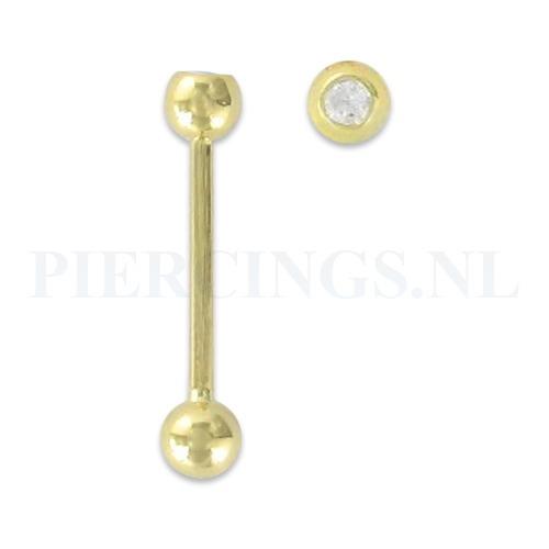 Tongpiercing goud 14 karaat met kristal